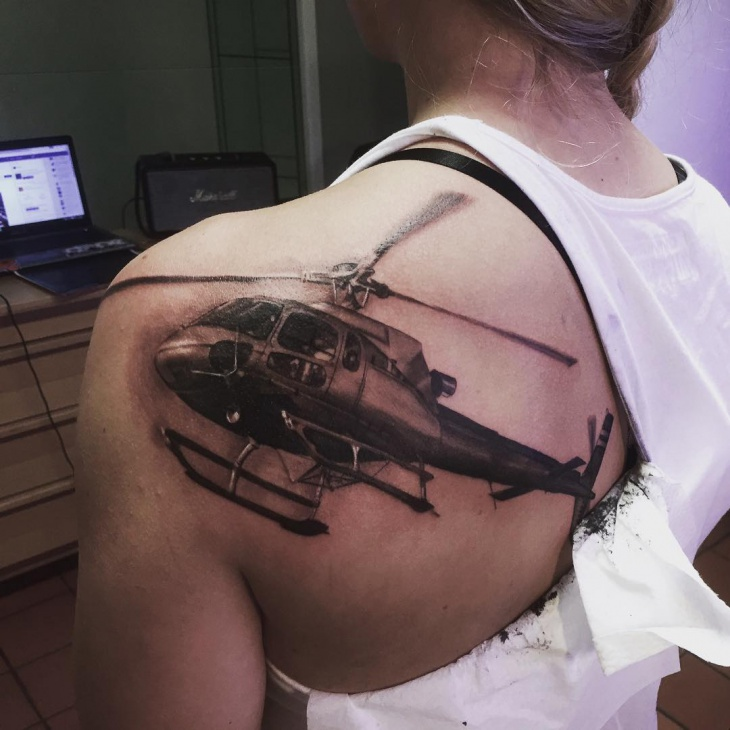 helicopter tattoo for shoulder