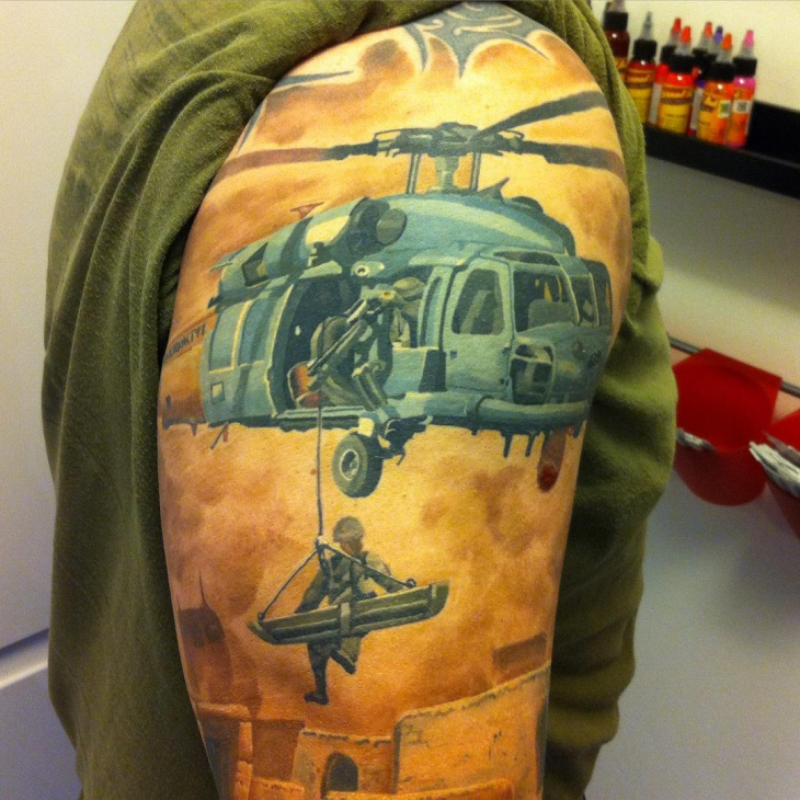 soldier helicopter tattoo idea