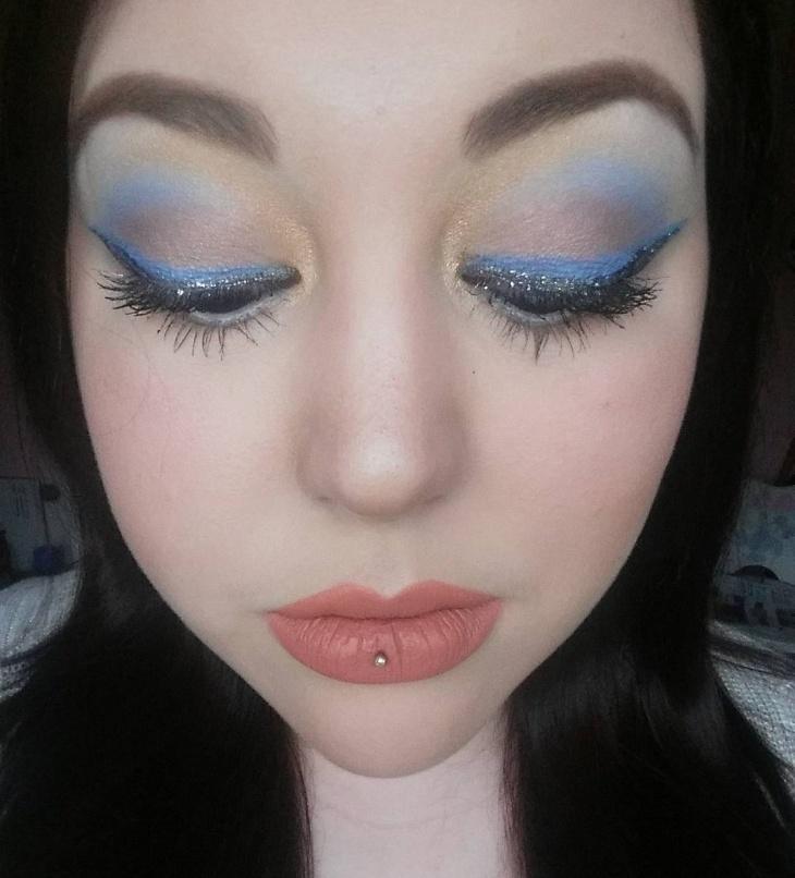 blue and black disney eye makeup