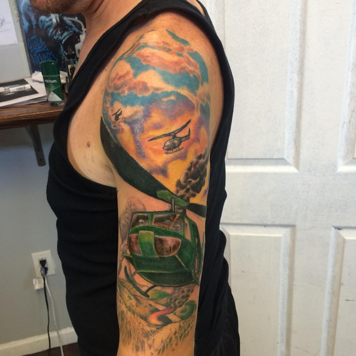 helicopter sleeve tattoo