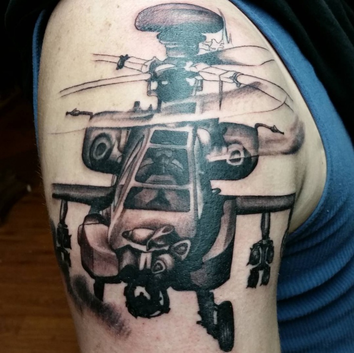 half sleeve helicopter tattoo