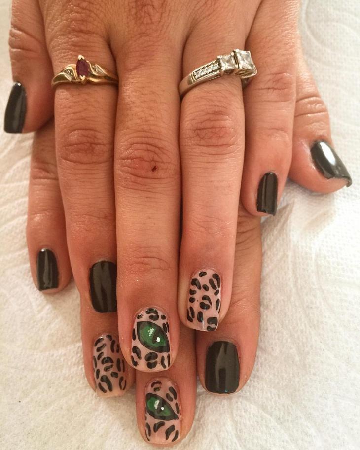 cat gel eye nail art