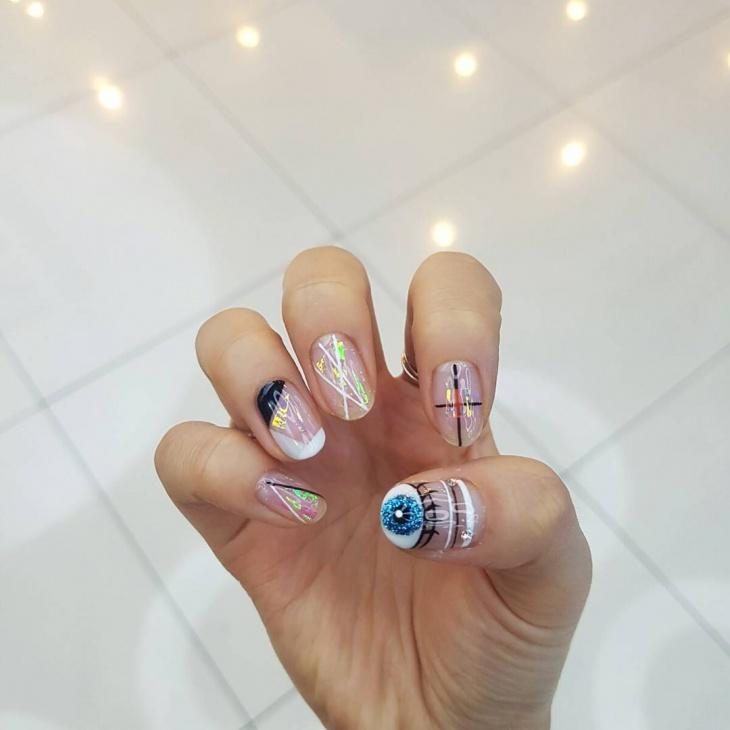 unique eye nail art for medium nails