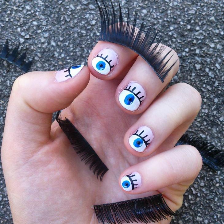Eye Lashes Nail Art Idea