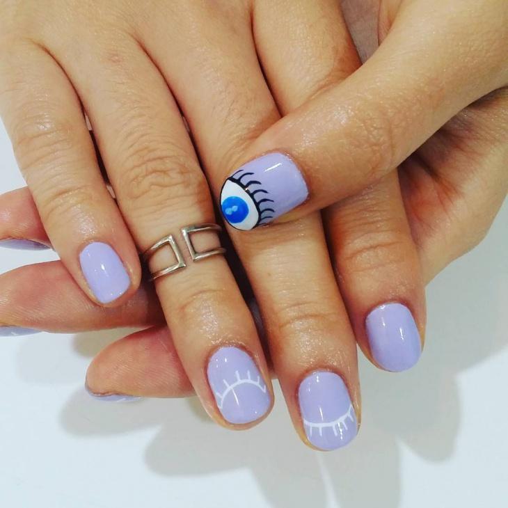 Purple Eye Ball Nail Art