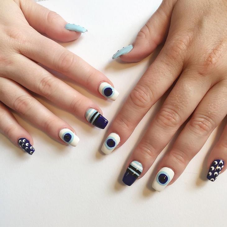 cute eye nail art for long nails