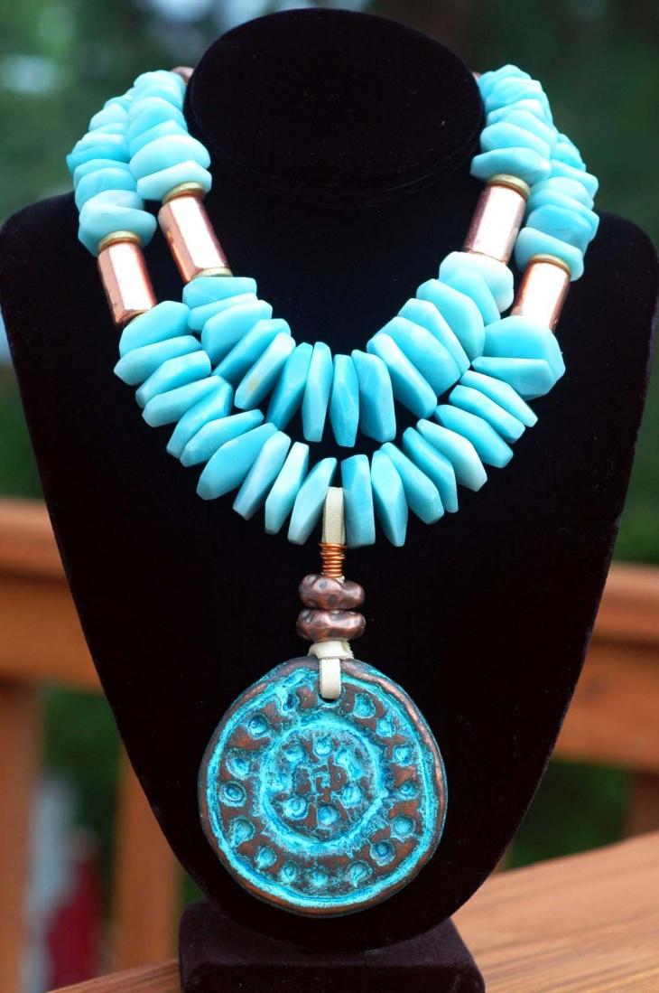 blue medallion pendant necklace