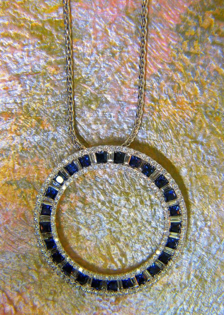 round diamond medallion pendant