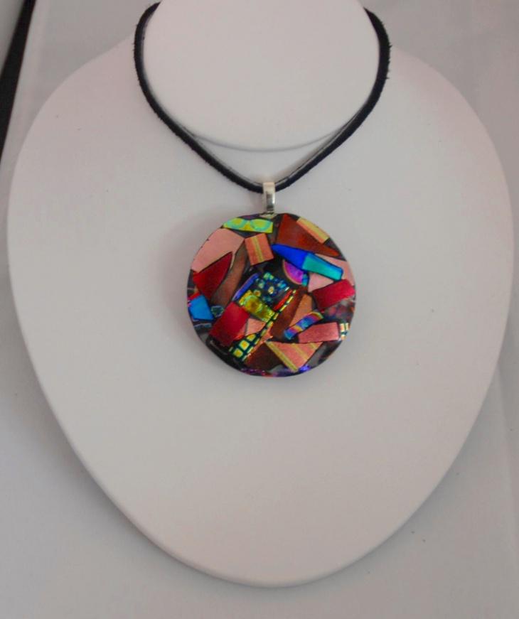 modern dichroic medallion pendant