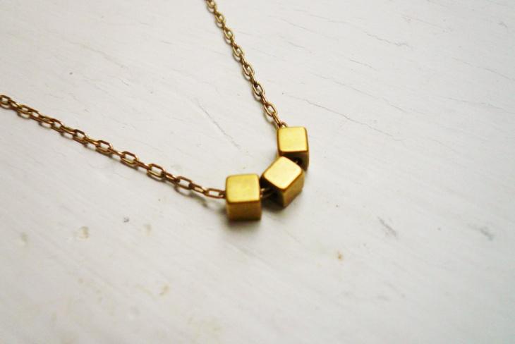 brass cube necklace