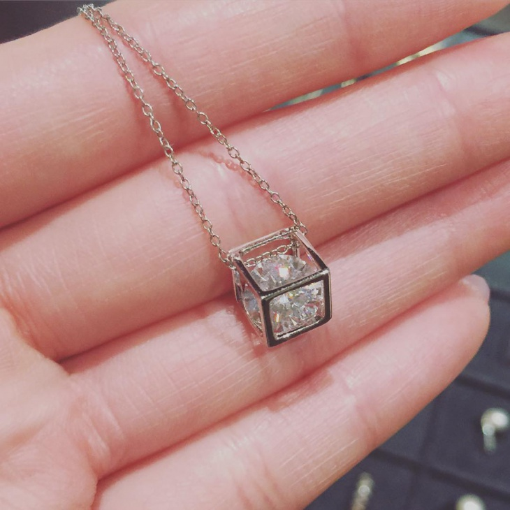 White Gold Cube Necklace