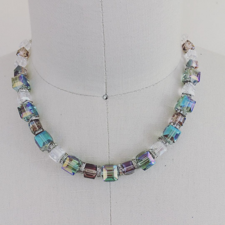 beaded cube necklace