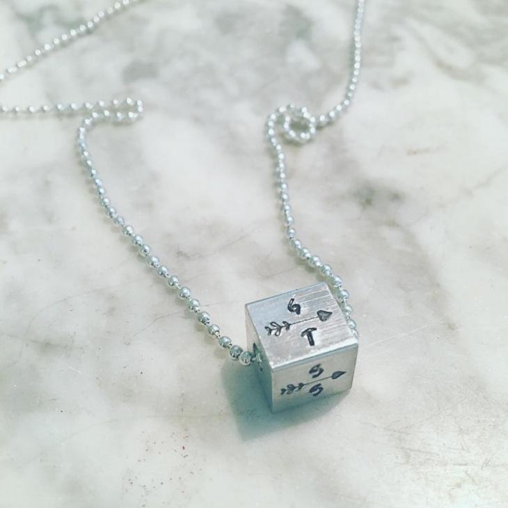 handcrafted aluminium cube necklace