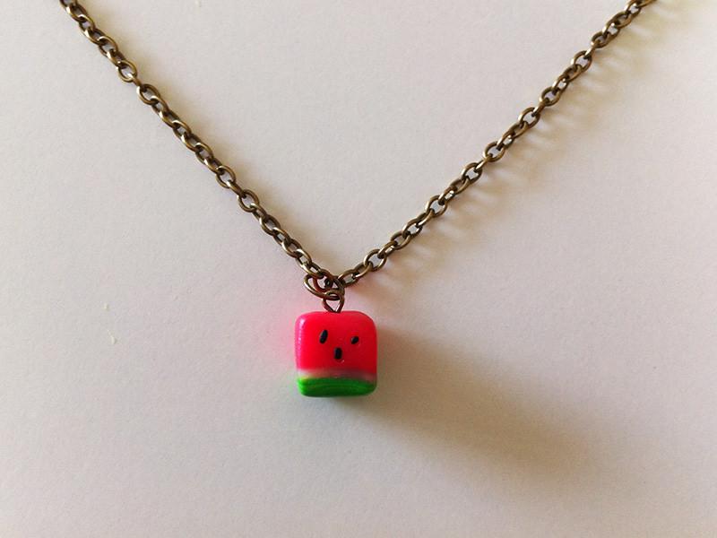 watermelon cube pendant necklace
