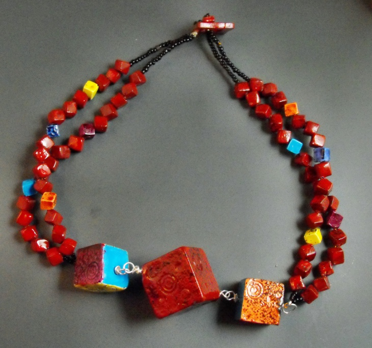 polymer clay cube necklace