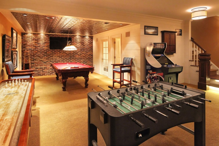 traditional basement game room