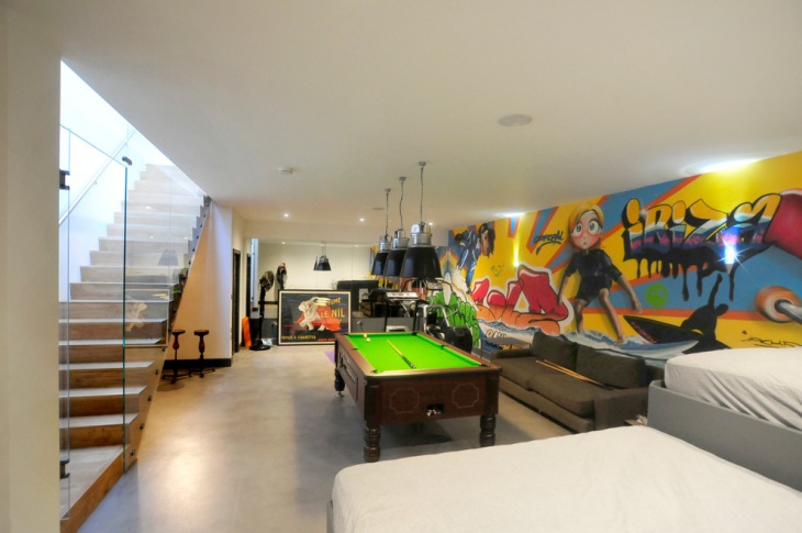 basement game with wall art