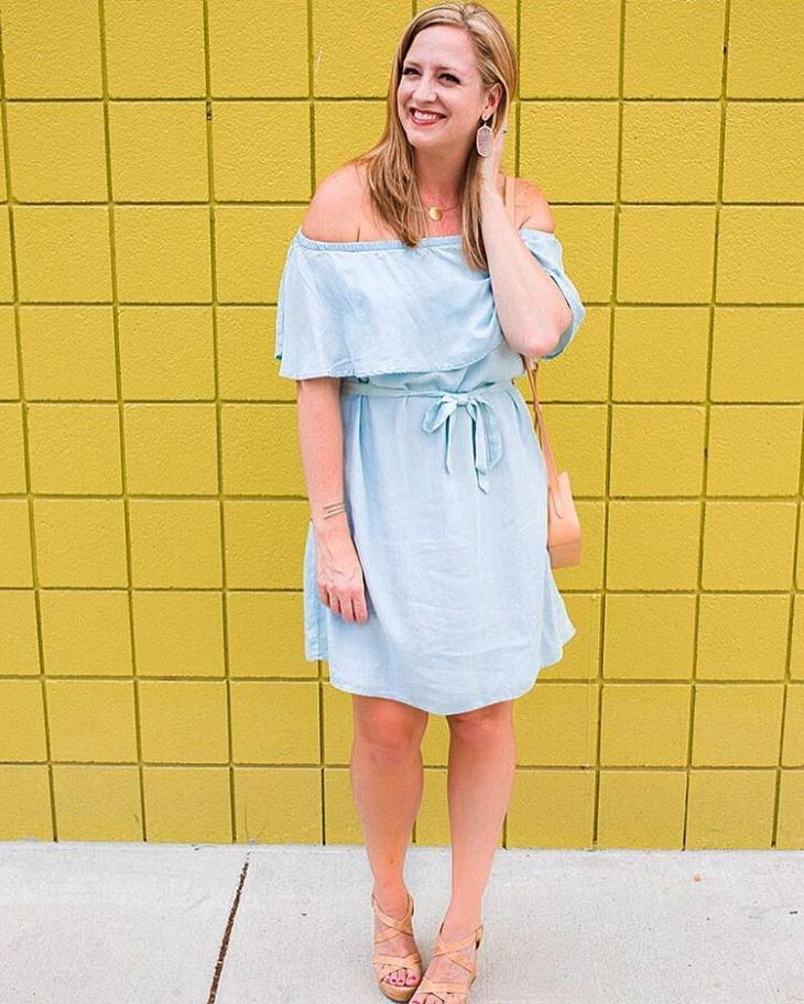 chambray shoulder dress design