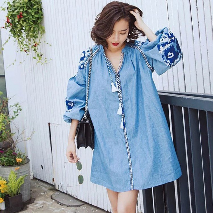 blue color chambray dress