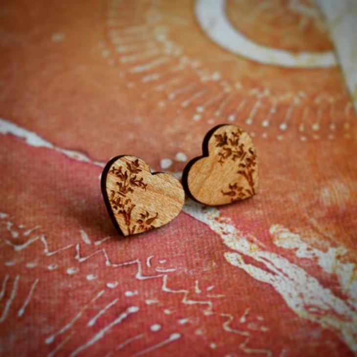 Wooden Model Heart Earrings
