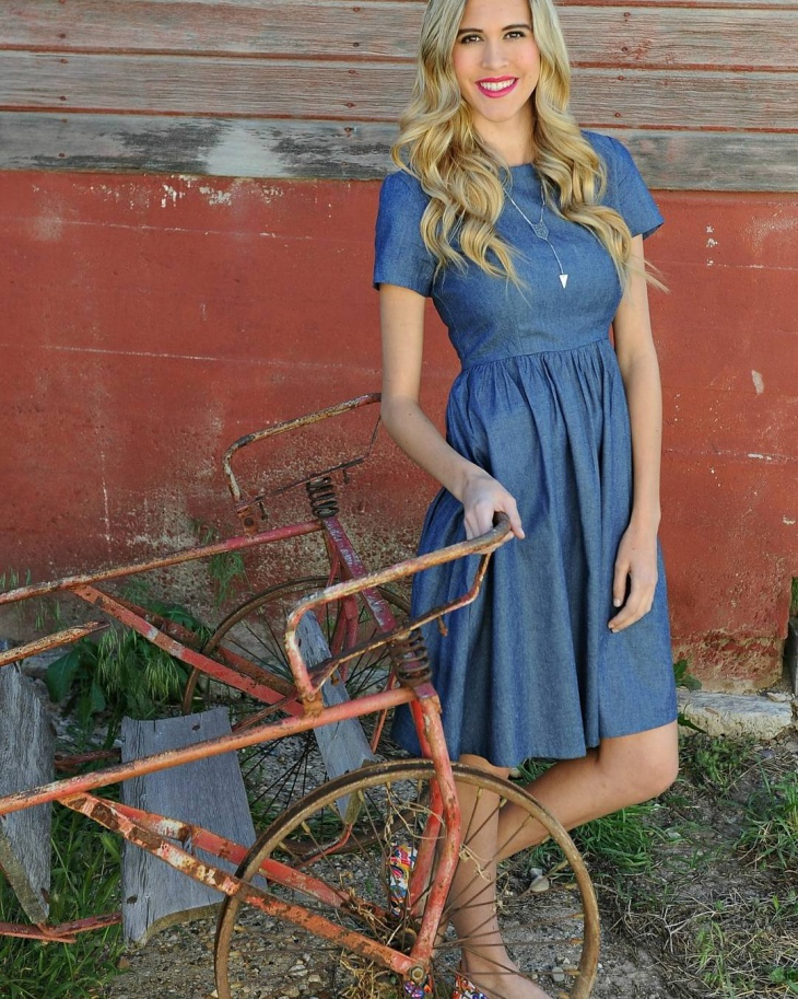 retro style chambray dress