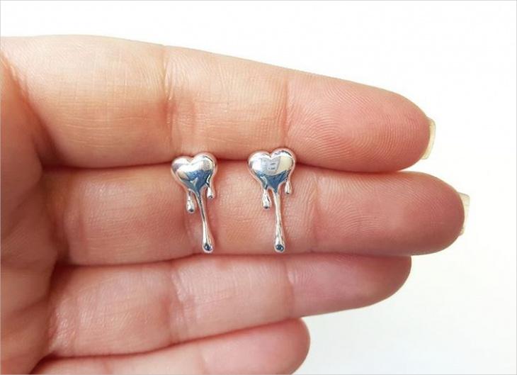 modern heart earrings idea