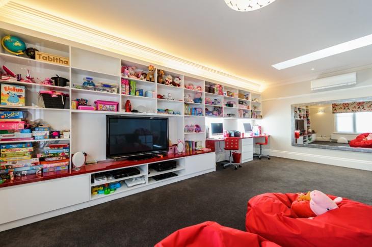 basement storage shelves tv room remodel