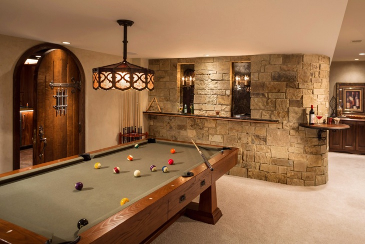 basement renovation with pool game