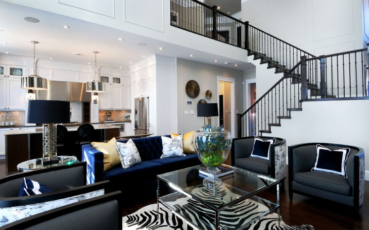 Beau Black Living Room Stairs Design