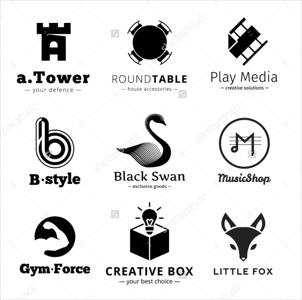 set of minimalistic black and white logos