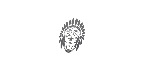 indian chief black and white logo