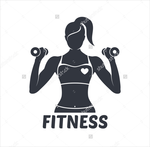 Logo fitness girl silhouette black and white