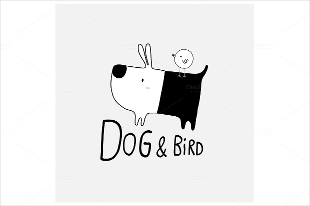 cute dog and bird black and white logo