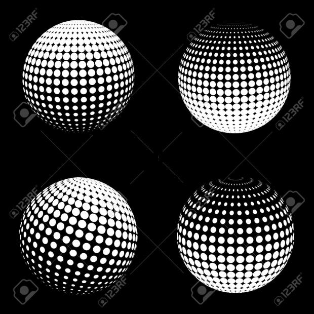 3D Halftone Spheres Vector