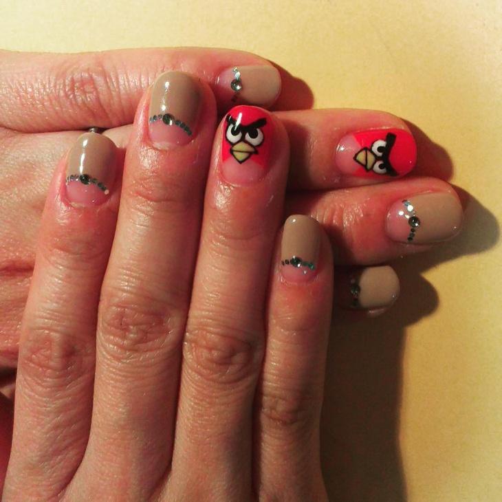 Angry Bird Tip Nail Design
