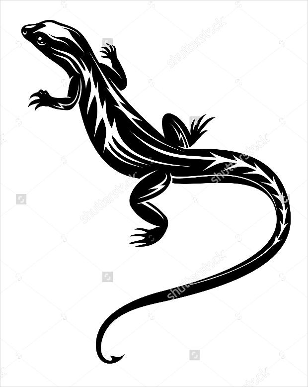 black fast lizard reptile black and white logo1