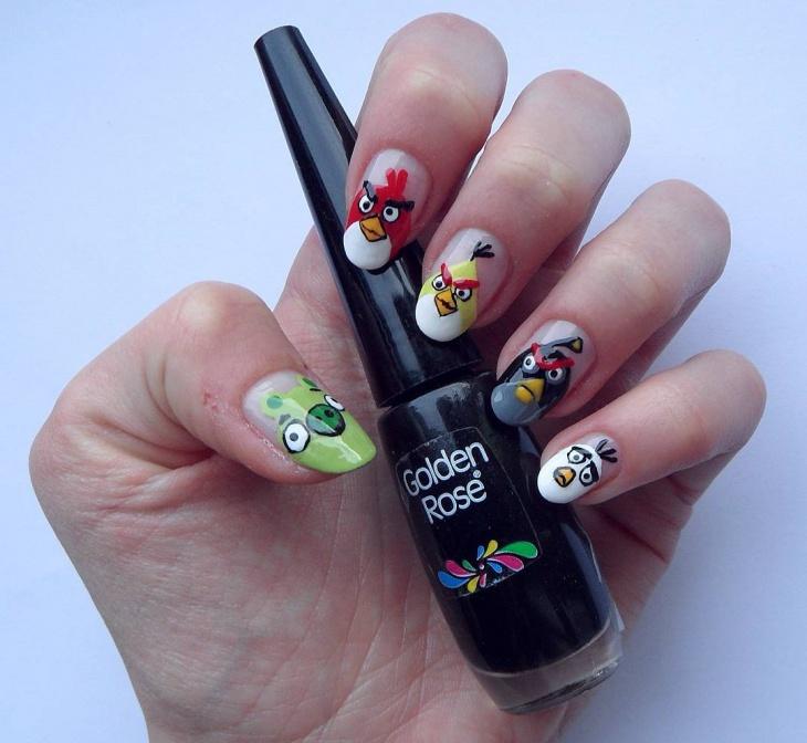 Acrylic Angry Bird Nails