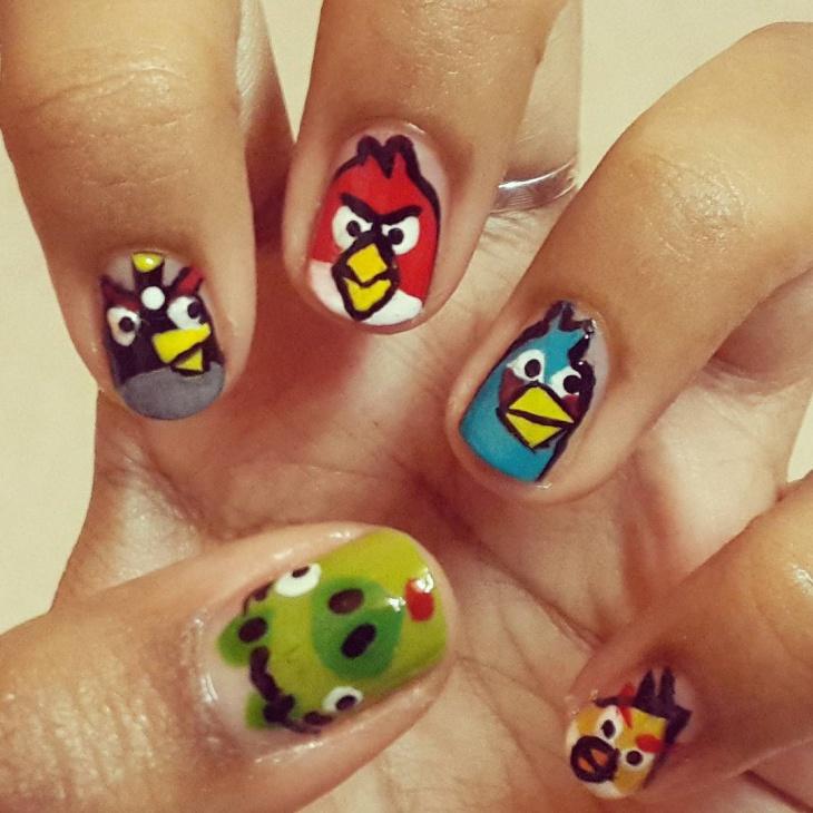 Cartoon Angry Bird Nail Art Design