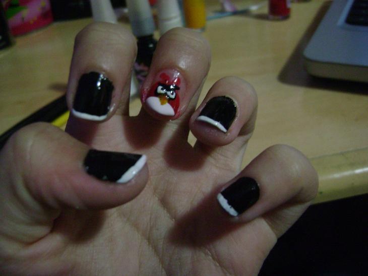 angry bird black nail polish