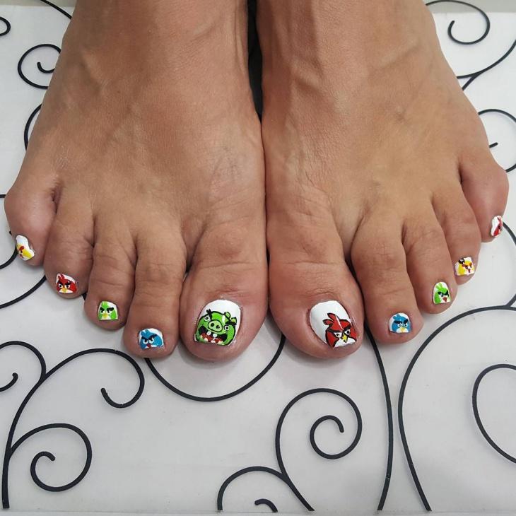 Angry Bird Toe Nail Design