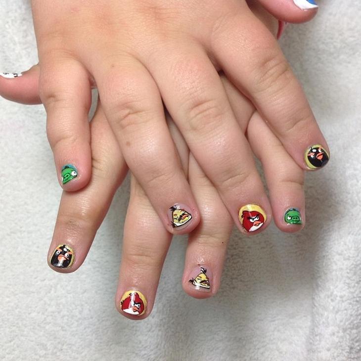angry bird nail art for short nails