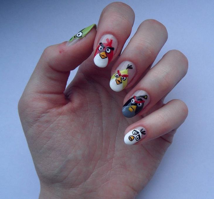 acrylic angry birds nail art