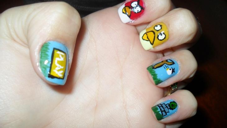 angry bird theme nail design
