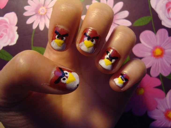 red angry birds nail art