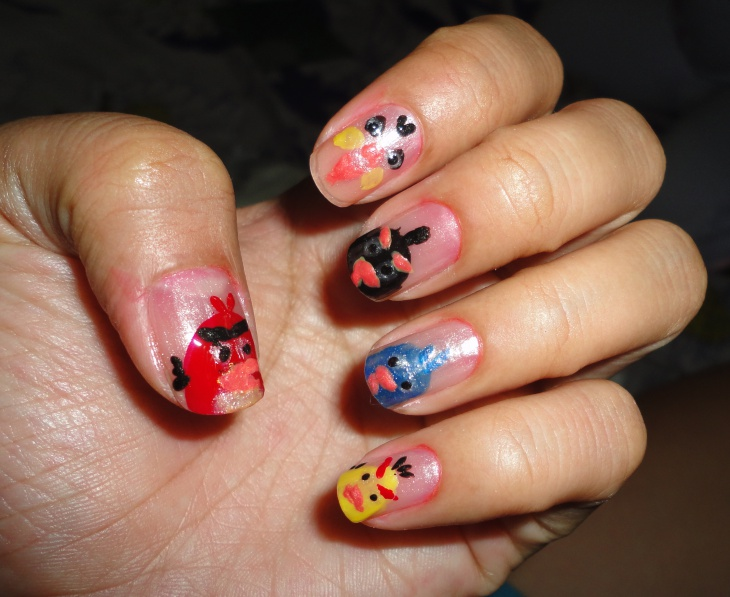 angry bird french manicure idea