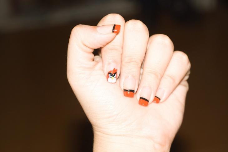cool angry bird nail art
