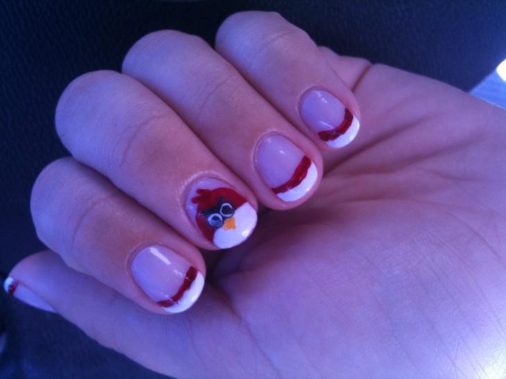 short nails angry bird tip nail art