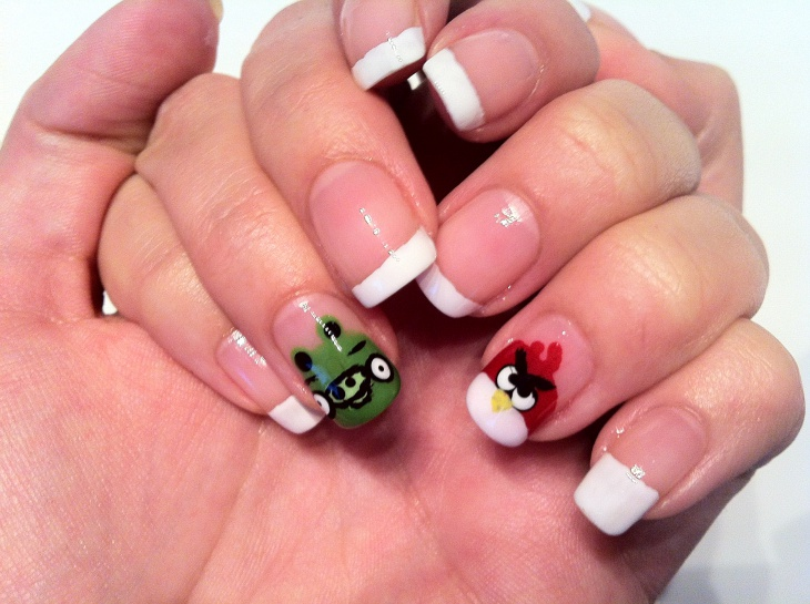 piggie and angry bird nail art