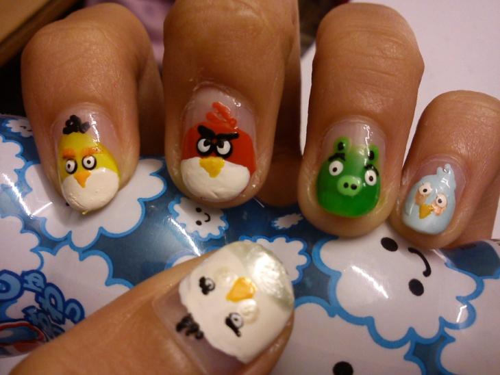 Angry Bird Inspired Nail Art