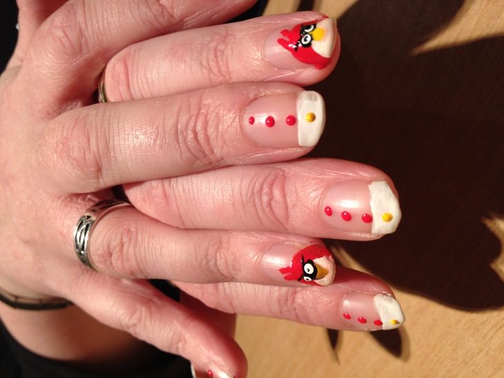 dotted angry bird nail design